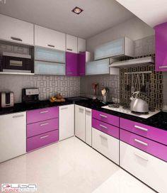Purple Kitchen Decor Stunning Purple And Black Kitchen Decor Image . Purple Kitchen Cupboards, High Gloss Kitchen Cabinets, Kitchen Cupboard Designs, Kitchen Room Design, Kitchen Sets, Modern Kitchen Design, Interior Design Kitchen, Modern Kitchens, Kitchen White