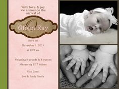 New Baby Announcement/reasonable prices!