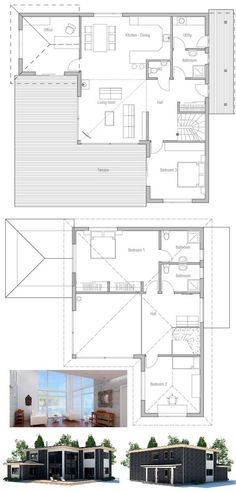 Small house plan with three bedrooms. Simple lines and shapes, high ceiling in the living area. Floorplans from ConceptHome.com