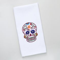 Sugar Skull Tea Towel - this would look quirky in my kitchen.