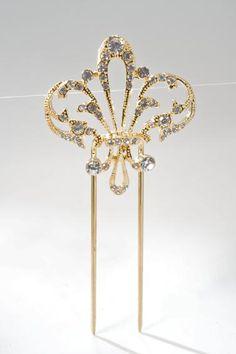 Bonita aguja de novia fabricada artesanalmente en rodio y circonitas Esta aguja de novia está disponible en color dorado Las horquillas y agujas de