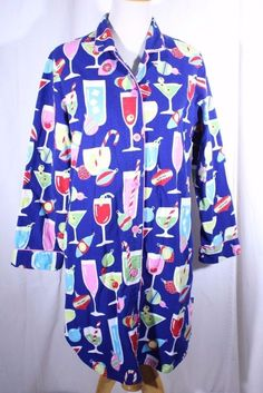 Nick & Nora Size M Flannel Holiday Christmas Nightgown Night Shirt Drinks  #NickNora #Sleepshirt