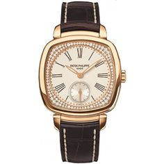 Patek Philippe Silver Dial 18kt Rose Gold Diamond Brown Leather Ladies Watch 7041R