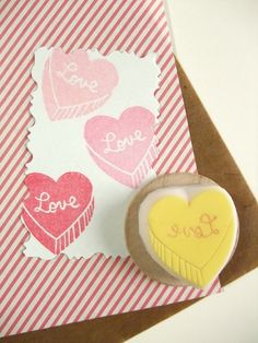 hand carved rubber stamp by talktothesun. chocolate and cookie shape stamp series for your diy valentine + wedding crafts. make candy bags + packaging stickers. Conversation Hearts Candy, Eraser Stamp, Stamp Carving, Handmade Stamps, Custom Stamps, Tampons, Valentines Diy, Craft Items, Making Ideas