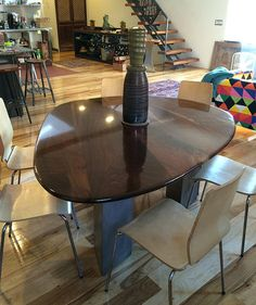 Black Walnut Dining Table With Triangular Steel Legs By Philadelphia Sculptor And Artisan Andrew Jevremovic