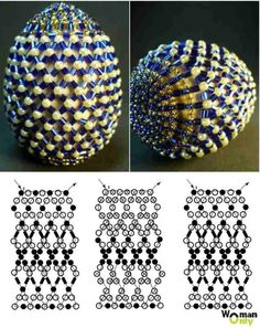 Faberge eggs braided with beads, scheme. Baubles And Beads, Beads And Wire, Egg Crafts, Easter Crafts, Beaded Ornament Covers, Easter Egg Pattern, Diy Ostern, Beaded Christmas Ornaments, Seed Beads
