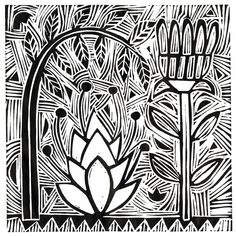 The Old Cells Studio - Michèle Brown Art: Lines of Force - Lino cut print