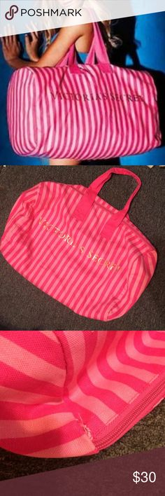 Victoria's Secret Duffle bag Large Victoria's Secret  striped duffle bag like new condition except a tiny hole in the seam. Nothing noticeable and it doesn't affect the bag at all. Victoria's Secret Bags Totes