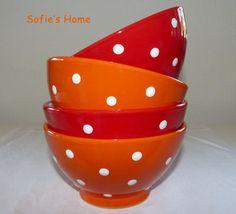 Schale Müslischale orange Punkte, Dots Handarbeit  von Sofie's Home auf DaWanda.com  Bright orange and red handpainted polka dots ceramic bowl