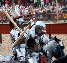 Joram van Essen(left) prepares to smash Ivar Mauritz-Hansen(right) over the head during  the mounted melee at the Tournament of the Golden Chain (photo by Middelaldercentret) -The Jousting Life