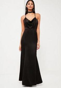 Peace + Love Black Satin Fishtail Maxi Dress