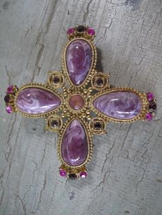 Lilac Cross Vintage Brooch by mimiyaya on Etsy, $15.00