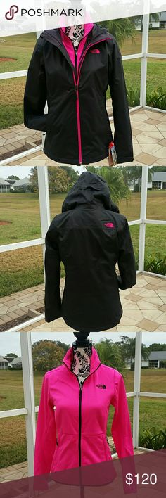 NORTH FACE ARROWOOD TRI JACKET GRAY & PINK North Face Arrowwood Tri climate jacket in Asphalt Grey and Dobby. This is actually two jackets in one the pink jacket attaches to the grey jacket. The gray outer jacket is like a windbreaker it is waterproof dry vent technology  and has 2 zipper pockets and a hood. The pink jacket that attaches underneath or can be worn separate has a thin fleece lining 2 zipper pockets a black zipper and chest logo.  Size Small  New with tags North Face Jackets…