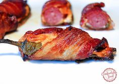 comfortable food - bacon wrapped, sausage stuffed jalapeno poppers