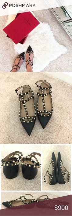 VALENTINO Rockstud Flats Black Gold Pebble Leather Authentic! Worn Imelda than a hand full of times! No scuffs, scratches or peeling on outside of shoes. Soles have normal wear from walking outside of house. Hardware has no tarnishing. Pebbles leather material. Shoes are labeled Size 39 which converts to size 9 based on Valentino size chart. But runs like a 8.5 in my opinion. Comes with Box and Dust Bag. Valentino Shoes Flats & Loafers