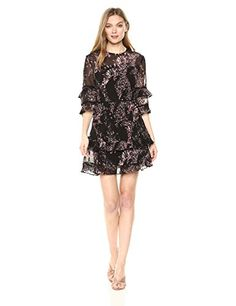 Keepsake The Label Women's Light up Ruffle Sleeve Mini Dress, Black Wildflower Floral, M   #FreedomOfArt  Join us, SUBMIT your Arts and start your Arts Store   https://playthemove.com/SignUp
