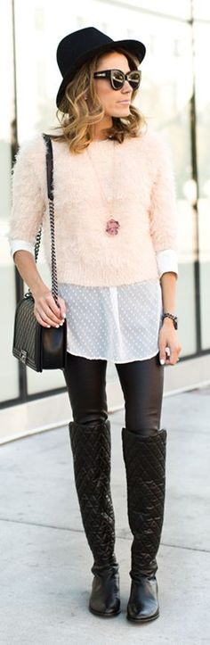 Nude Fluffy Crop Sweater by Hello Fashion