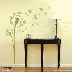 DANDELION wall decals Floral art stickers Modern door decalsmurals