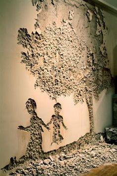 Wall decay art (SL Lounge Earth Plastering IF it does start cracking we have a plan* ) :)