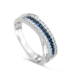 Awesome White gold ring with diamonds and sapphires