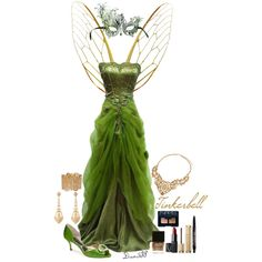 The Disney Masquerade Ball: Tinkerbell by drea538 on Polyvore featuring polyvore, fashion, style, Nina, H&M, Wet Seal, Julia Failey, NARS Cosmetics, Guerlain and Too Faced Cosmetics