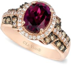 LeVian Le Vian Raspberry Rhodolite Chocolate and White Diamond Oval Ring (2-3/4 ct. t.w.) in 14k Rose Gold