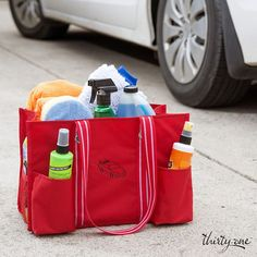 Thirty-One Zip-Top Organizing Utility Tote. Load up the car cleaning supplies…