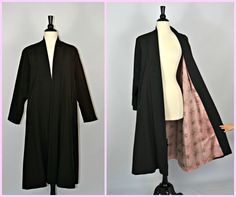 1940s Black Swing Coat with Pink Floral Lining