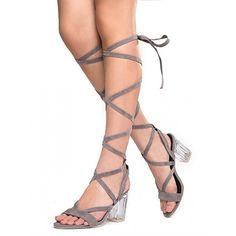 Women's Grey Strappy Block Heels Gladiator Sandals for Party, Night club FSJ Design