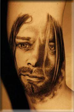 Kurt Cobain Portrait Tattoo #Tattoos #KurtCobain #Nirvana #Portrait http://tattoopics.org/kurtcobain/
