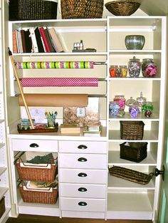 Closet Offices / Becky Harris - eclectic - home office - other metro - Becky Harris Scrapbook station Sewing Room Design, Sewing Rooms, Sewing Closet, Sewing Studio, Home Office Closet, Closet Desk, Hall Closet, Room Closet, Closet Space