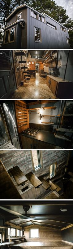 The Rook: a 187 sq ft tiny house by Wind River Tiny Homes. A bit too dark for my tastes, but can understand the appeal.