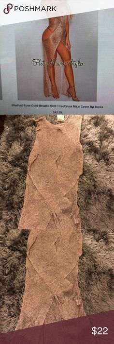 Blush Rose Gold Metallic Knit Maxi Cover Up Dress Blush Rose Gold Metallic Knit Maxi Cover Up Dress Brand New.  Never worn. Purchased from Hot Miami Styles.  Size Medium but can really fit any size S/M/L Hot Miami Styles Swim Coverups
