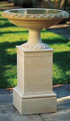 Bearing an egg-and-dart motif worthy of the finest urn, the Regency Bird Bath and Pedestal delivers elegant artistry to your garden while welcoming your feathered friends.
