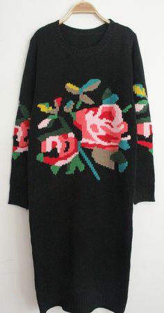 Black+Long+Sleeve+Rose+Pattern+Sweater+Dress+US$43.59