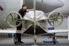 An Engineer Prepares An Airbus E Fan Electric Aircraft.