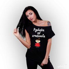 Koszulka damska z nadrukiem Mała Mi- Pyskata od urodzenia czarna