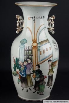 China 20. Jh. A Chinese Famille Rose Porcelain Baluster Vase Vaso Cinese Chinois