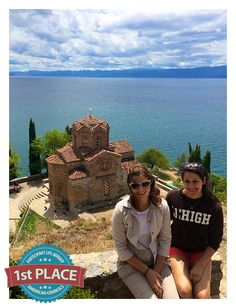 "1st Place, Participant Life Abroad: Alexandra Stephanou, Macedonia   ""Me with one of my host sisters with Saint Panteleimon Monastery and Lake Ohrid in the background."""