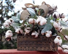 Farmhouse Style Cotton and Lambs Ear arrangement, Rustic Country table top Decor, Cotton centerpiece, Year Round floral decor, Gift for Mom Rustic Farmhouse Decor, Rustic Decor, Country Farmhouse, Farmhouse Ideas, Rustic Charm, Rustic Design, Shed Decor, Purple Door, Thing 1