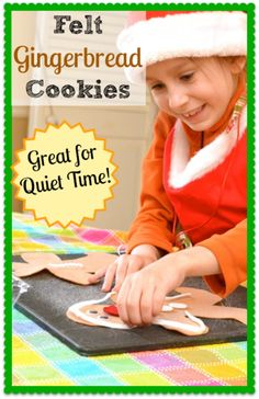 Felt Gingerbread Cookies for Quiet Time - Just cut out the pieces and let the kids entertain themselves making different gingerbread men! I love finding fun things like these for my kids to do while they're home from school on Christmas break!