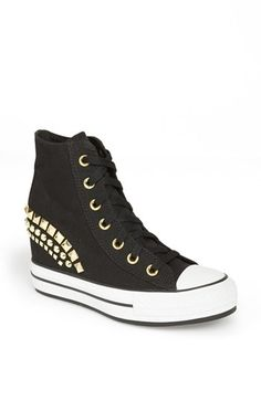 Converse Chuck Taylor® High Top Wedge Sneaker (Women) available at #Nordstrom If your like me ( into studs and converse) these are perfect for you!!!! You can go trim your outfit from girly to rocker in a mere shoe!