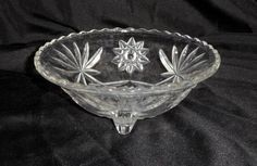Footed Bowl Vintage Pressed Glass Anchor Hocking Prescut Pattern Star of David $10.00 H