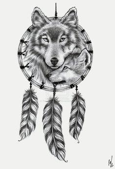 2798e97b1 Wolf Dreamcatcher tattoo design by ~RozThompsonArt on deviantART Wolf  Dreamcatcher Tattoo, Dreamcatcher Design,