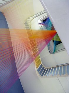 Mexican artist Gabriel Dawe installs colorful thread to resemble light and ornate rooms beautifully.