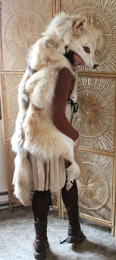 Wolf totem headdress  real golden wolf full skin by thegreenwolf, $1000.00