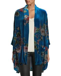 Johnny Was Designer Plus Size Vivian Printed Velvet Kimono Jacket Velvet Smoking Jacket, Velvet Jacket, Kimono Jacket, Kimono Top, Wedding Jacket, Jackets For Women, Clothes For Women, Johnny Was, Kimono Fashion