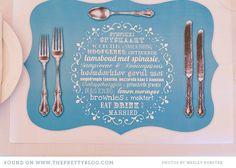 menu/program for reception. Placemat. Cute. But, not english.