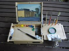 """Here's my new pochade box set-up along with it's maiden plein air sketch. To give you all a sense of scale, the painting's 6x8"""""""