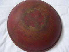 "AAFA-19Th C Turned Bowl Original Oxidized Red Paint  small lip 12 3/4"" Diameter"
